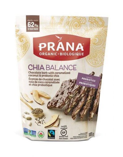 Food & Drink - Prana - Chia Balance 62% Dark Chocolate Bark, 100g