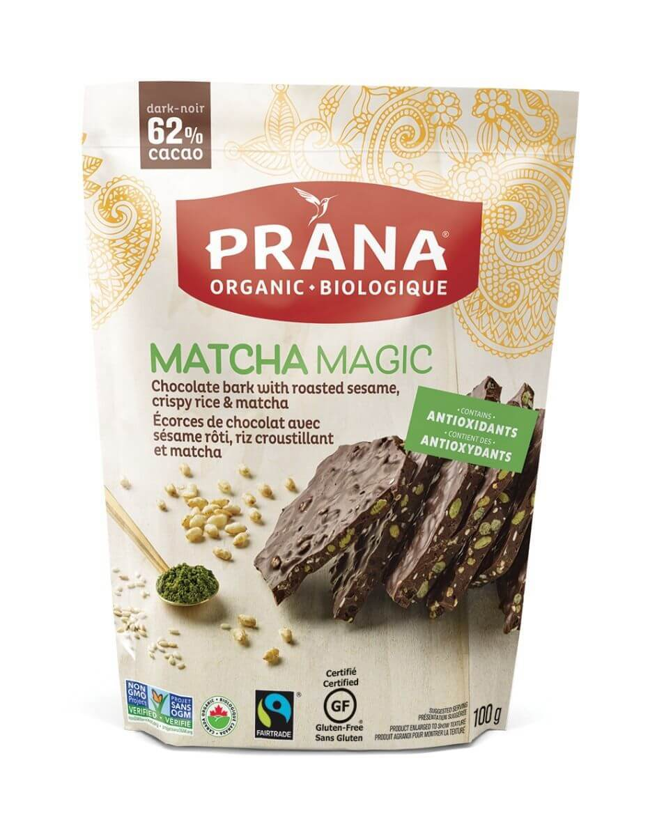 Food & Drink - Prana - Matcha Magic 62% Dark Chocolate Bark, 100g