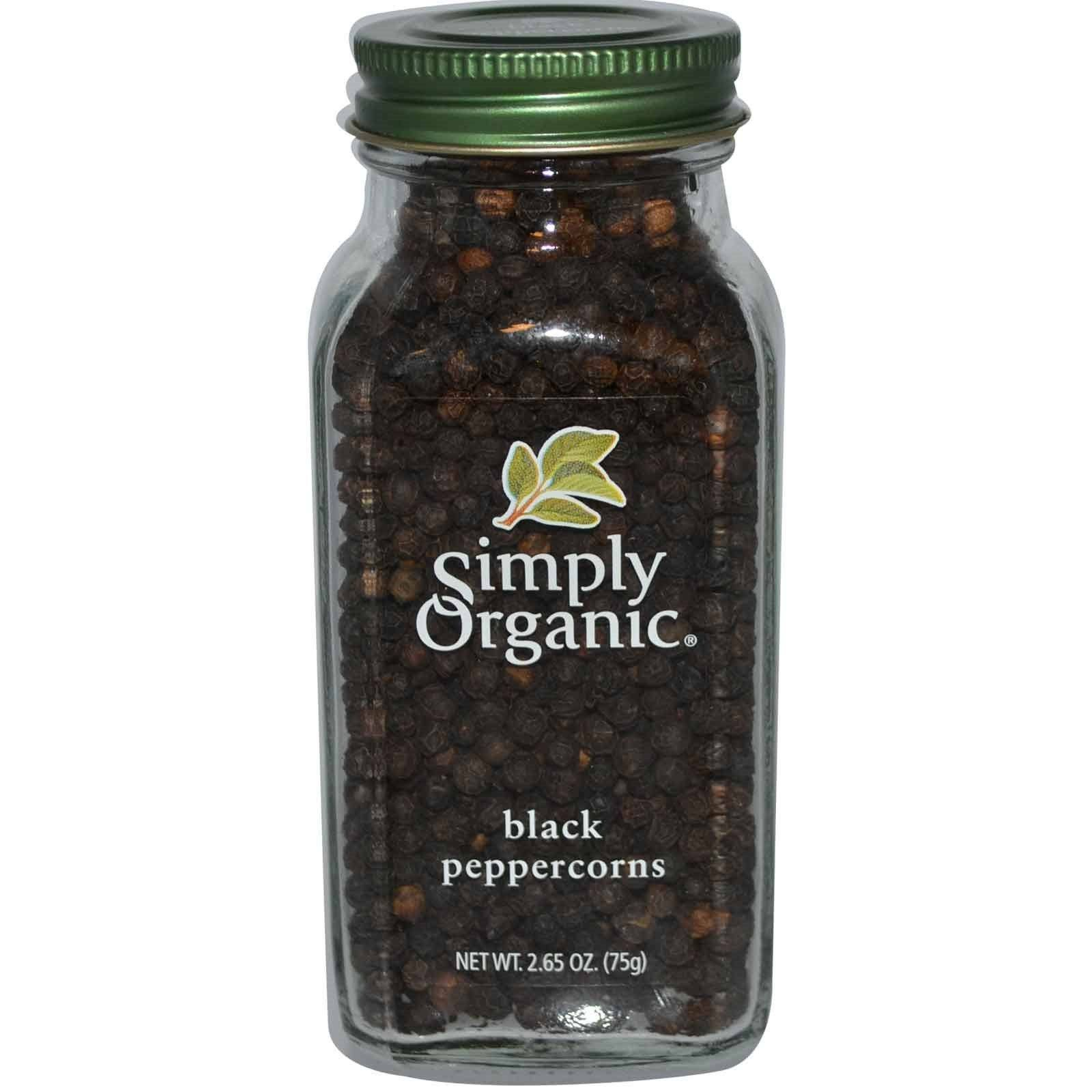 Food & Drink - Simply Organic Black Peppercorns - 75g