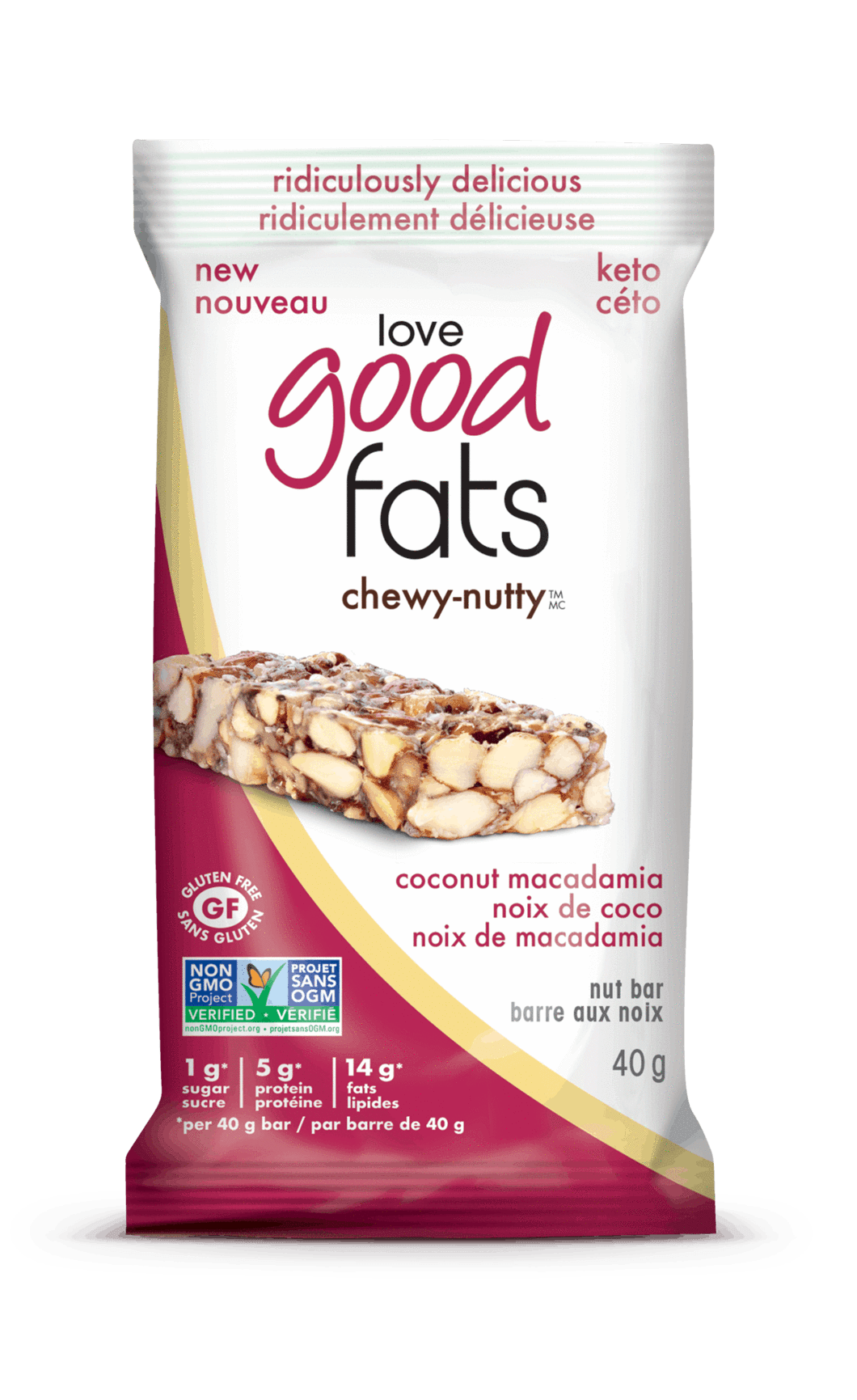 Food & Drink - Suzie's Good Fats Bars - Coconut Macadamia Chewy Nutty Bar, 40g