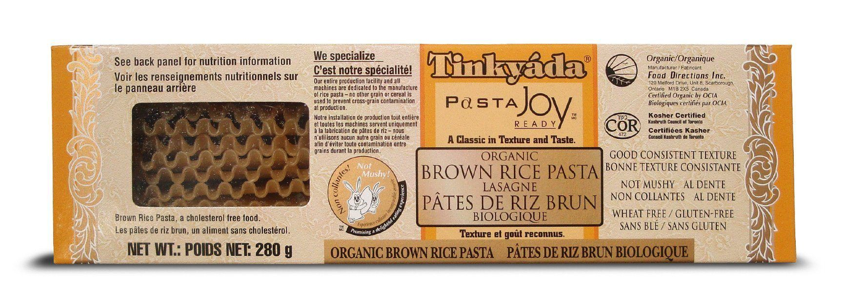 Food & Drink - Tinkyada - Organic Brown Rice Lasagne, 280g