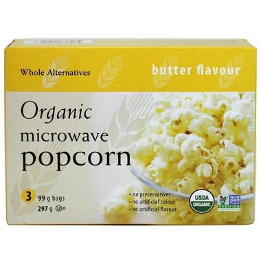 Food & Drink - Whole Alternatives - Organic Microwave Butter Popcorn, 3X99g