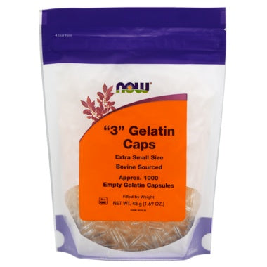 Healthy Lifestyles - NOW - Gelatin Caps 3, 1000 Empty Capsules