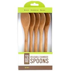Healthy Lifestyles - To-Go Ware - Reusable Bamboo Spoons, 5 Pack