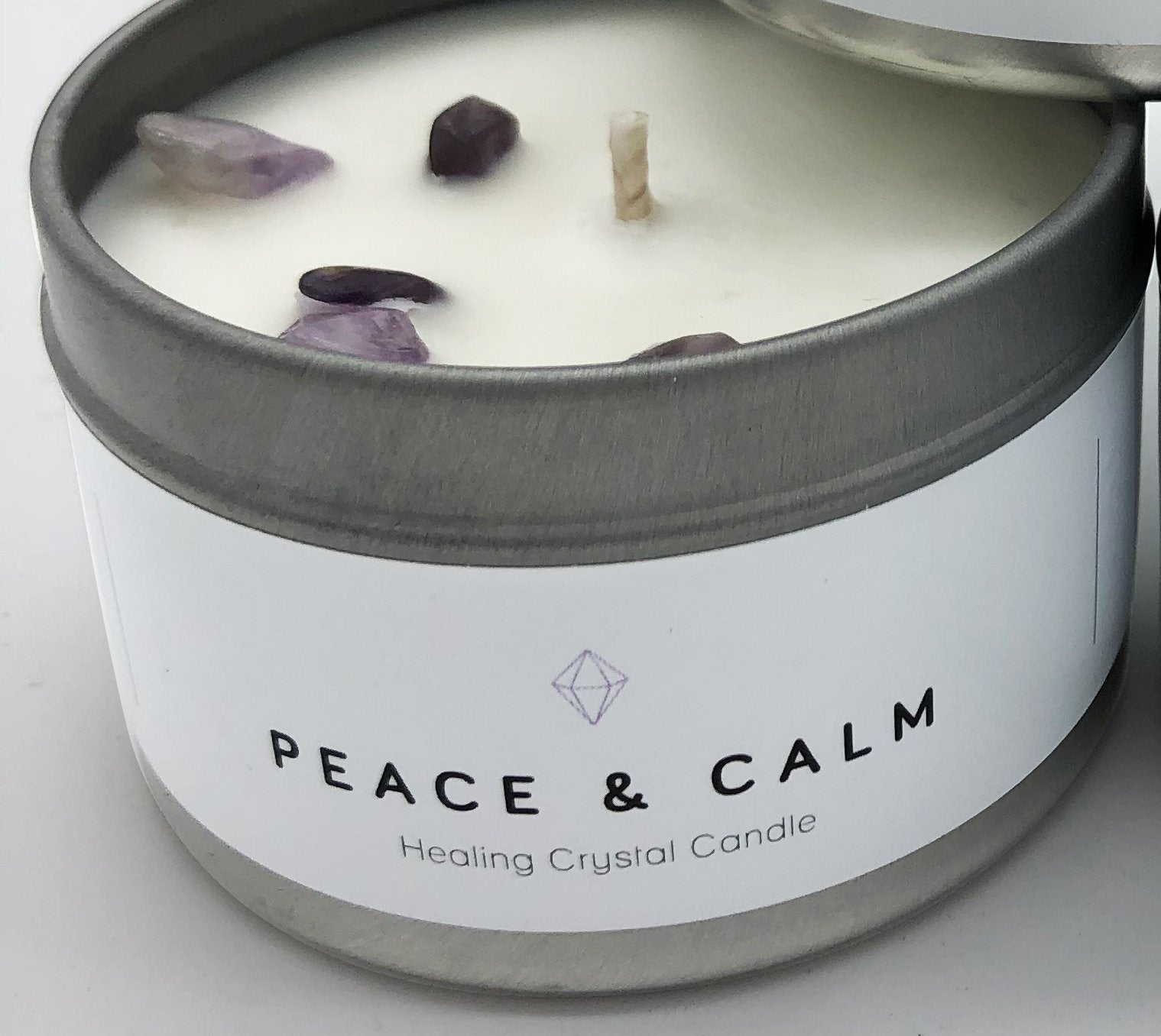 Healthy Lifestyles - Wax + Fire - Healing Crystal Candle - Peace & Calm, 4oz