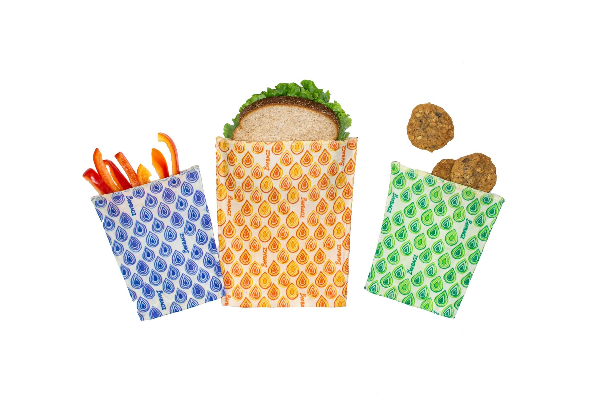 BeeBagz - Reusable Beeswax Food Bags, Lunch Pack, 3 Pieces