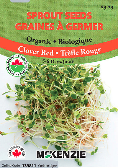 McKenzie Seeds - Organic Red Clover Sprout Seeds