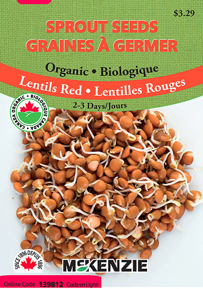 McKenzie Seeds - Organic Lentils Red Sprout Seeds