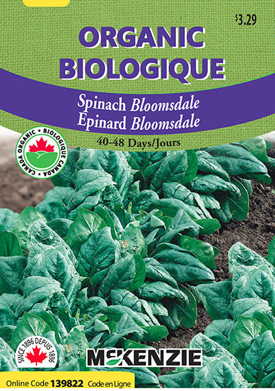 McKenzie Seeds - Organic Spinach Bloomsdale Seeds