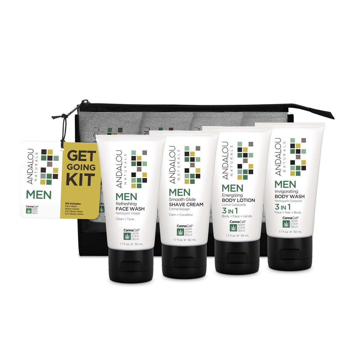 Personal Care - Andalou Naturals - Men's Get Going Kit, 4 Pieces