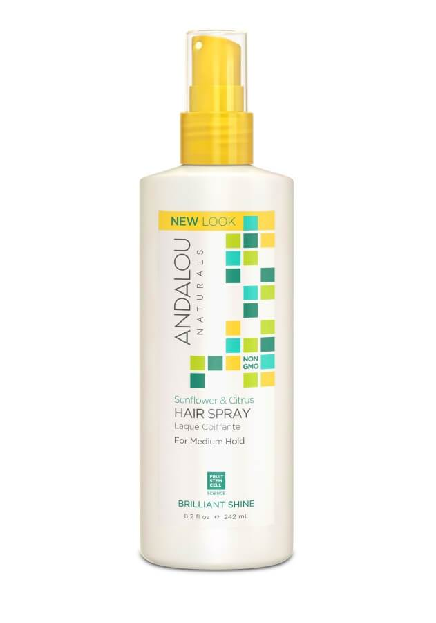 Personal Care - Andalou Naturals - Sunflower Citrus Brilliant Shine Hairspray, 242ml