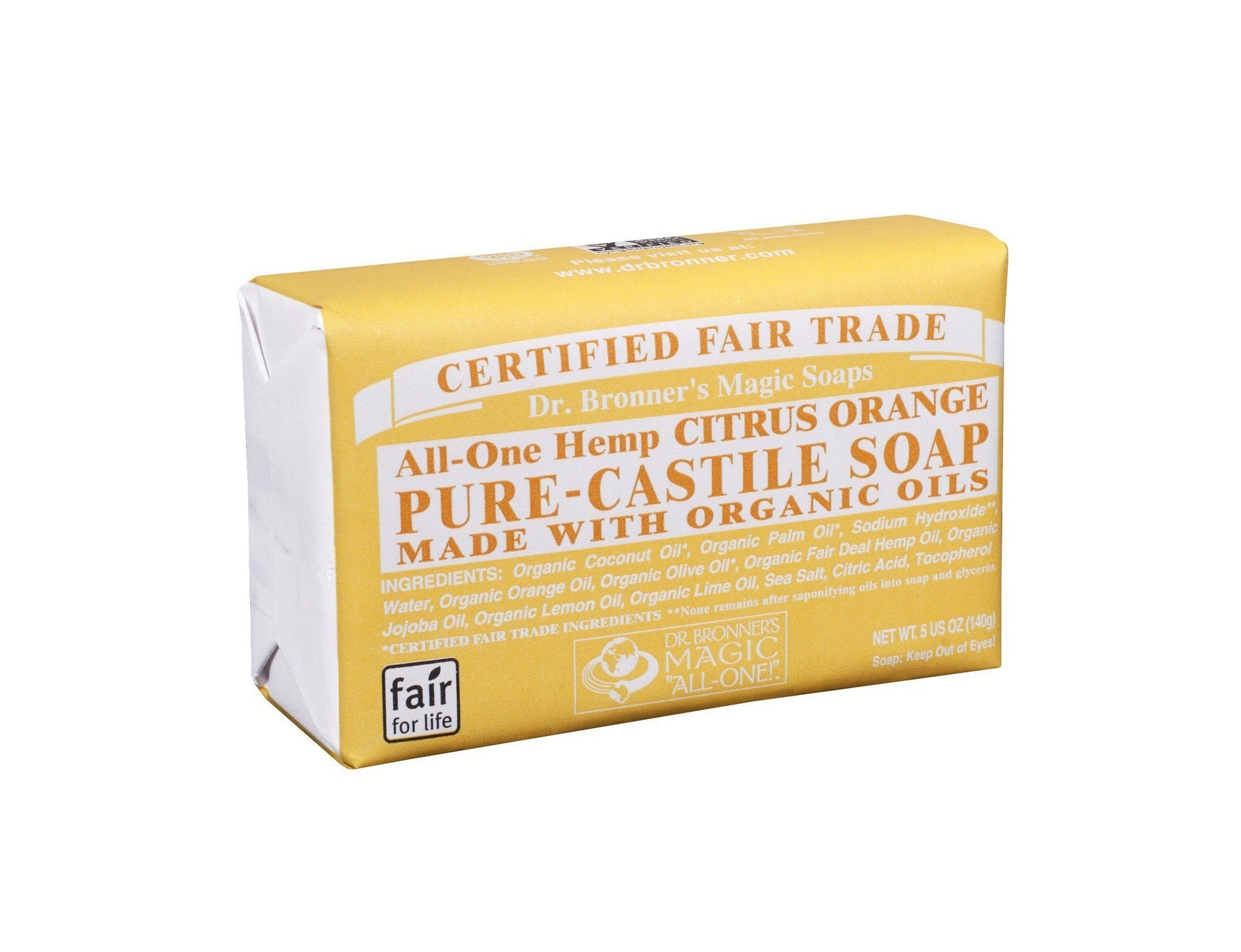 Personal Care - Dr. Bronner's - Citrus Orange Bar Soap, 140g
