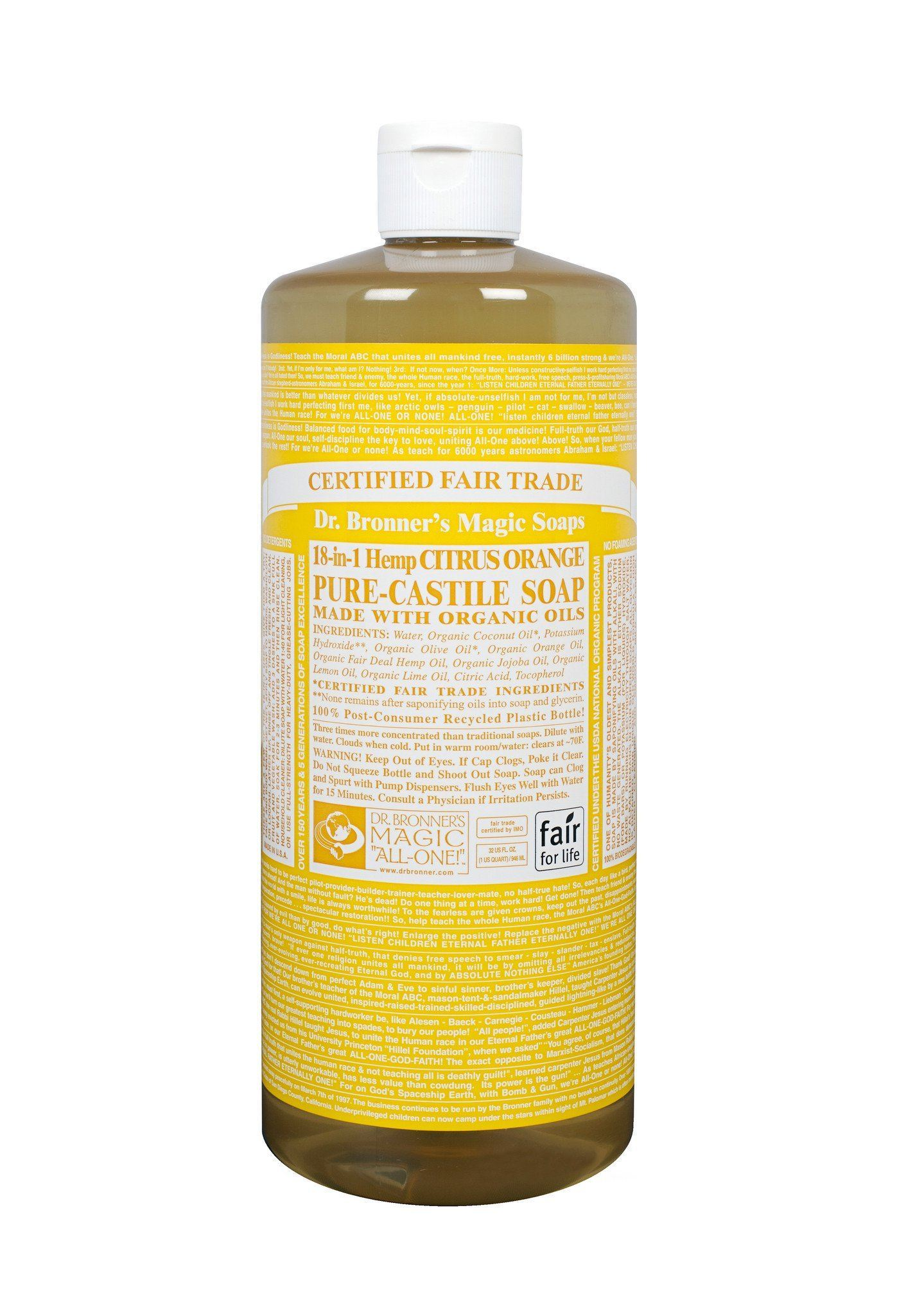 Personal Care - Dr. Bronner's - Organic Citrus Oil Castile Soap - 944ml
