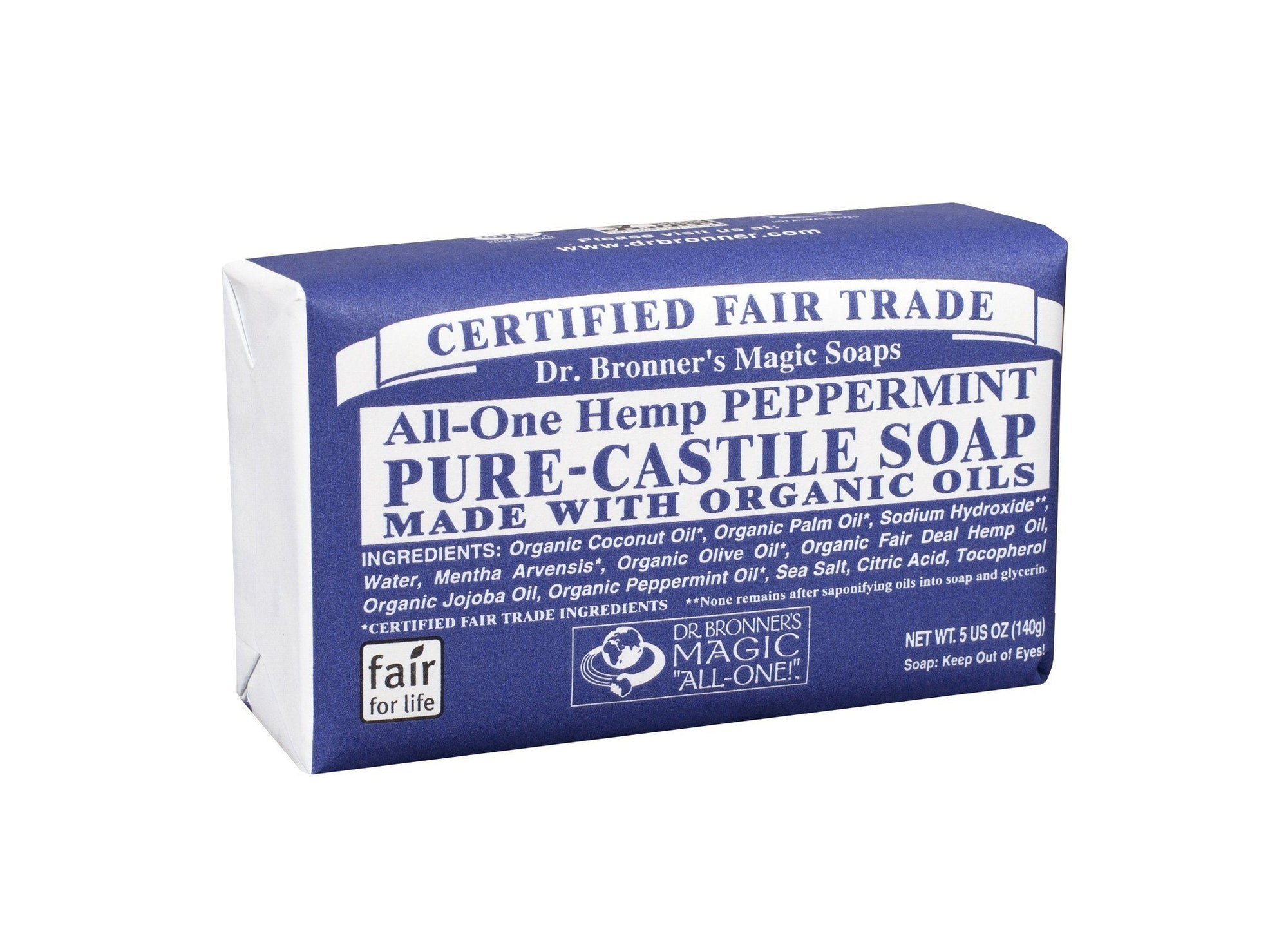 Personal Care - Dr. Bronner's - Peppermint Bar Soap, 140g