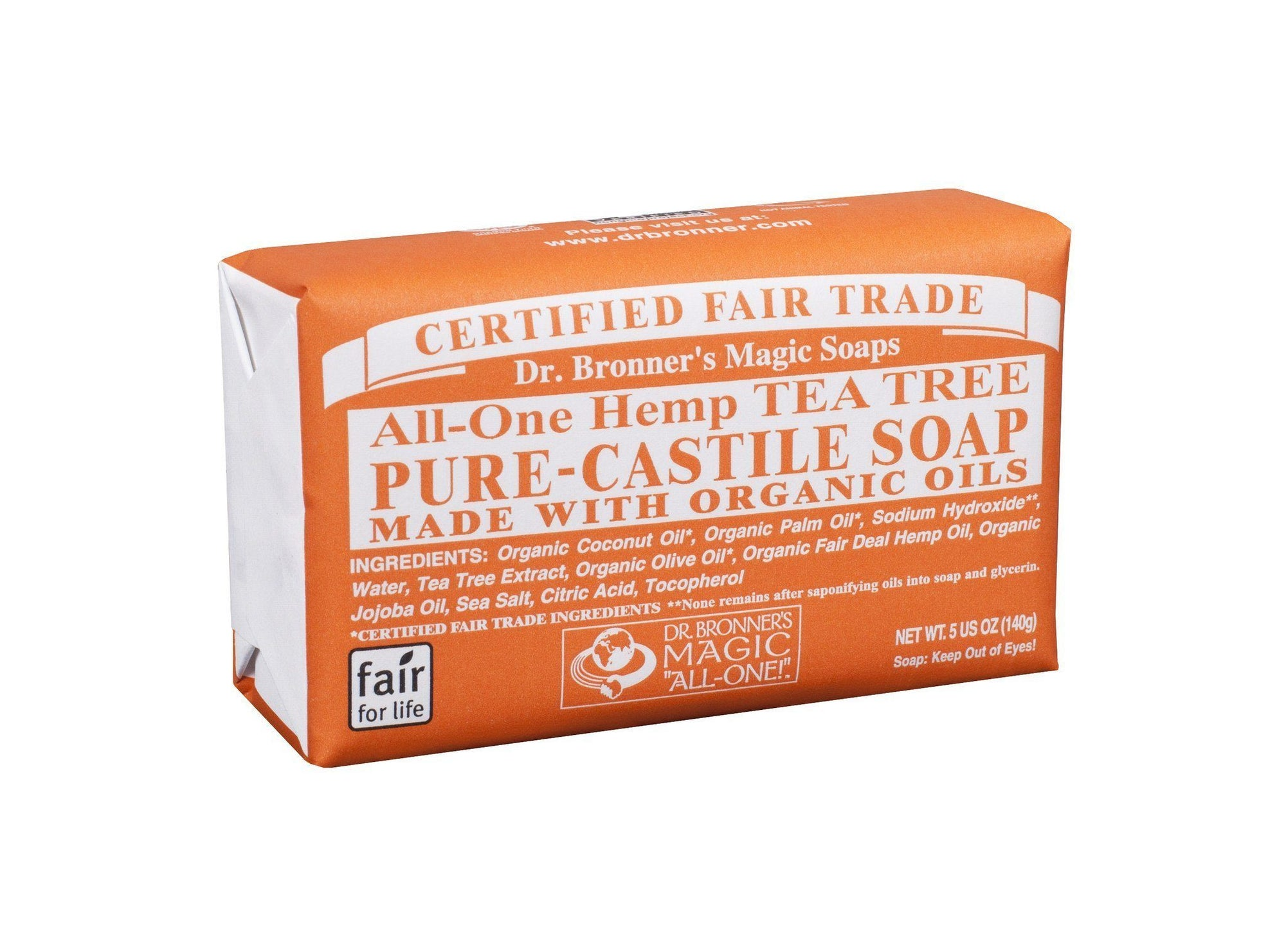 Personal Care - Dr. Bronner's - Tea Tree Bar Soap, 140g