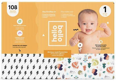 Personal Care - Hello Bello - Diapers, Bolts/Woodland, Size 1, 108 Count
