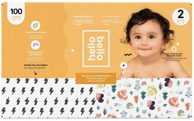 Personal Care - Hello Bello - Diapers, Bolts/Woodland, Size 2, 100 Count
