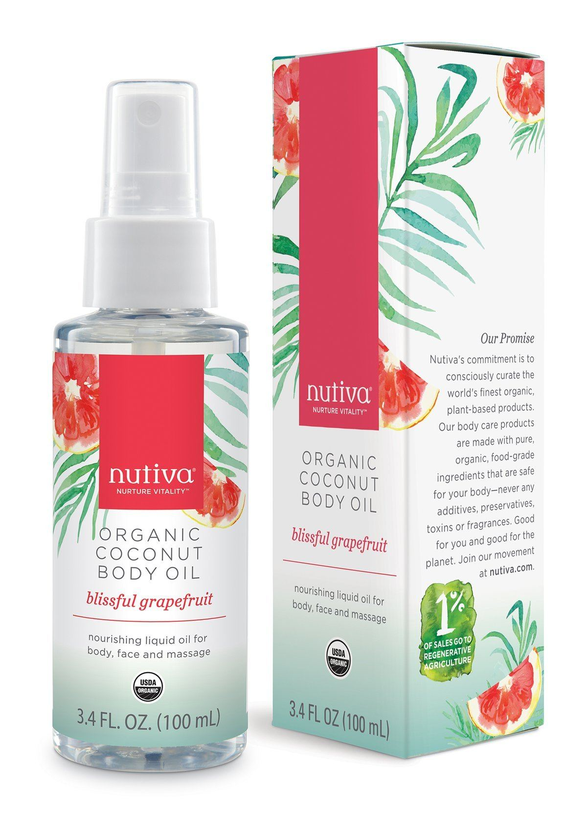 Personal Care - Nutiva - Coconut Body Oil - Grapefruit, 100ml