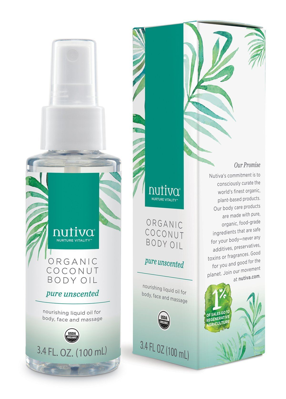 Personal Care - Nutiva - Coconut Body Oil - Unscented, 100ml