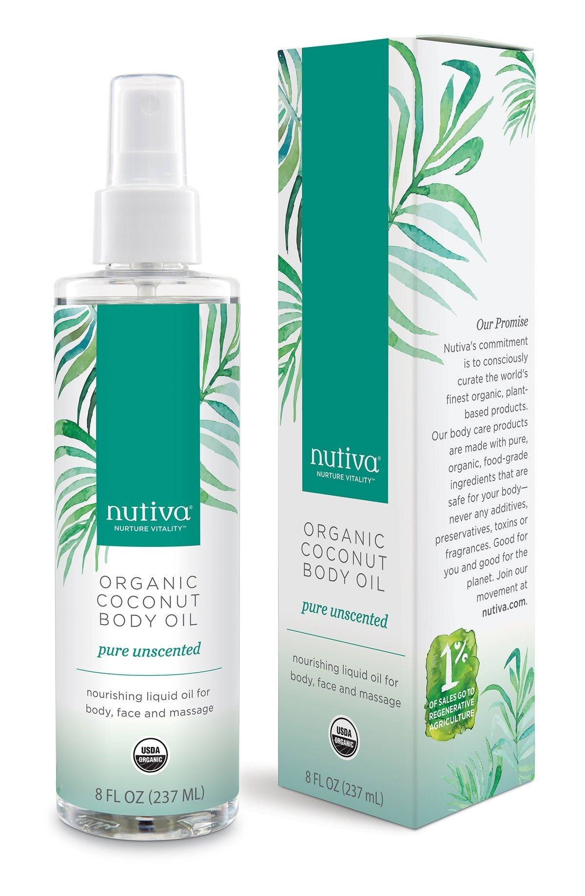 Personal Care - Nutiva - Coconut Body Oil - Unscented, 236ml
