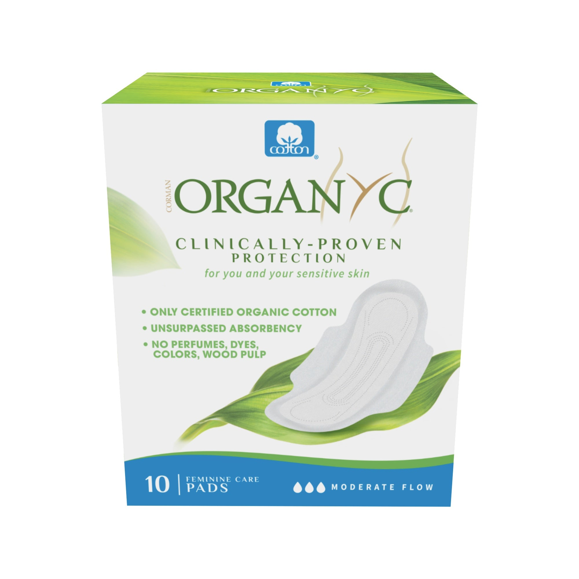 Personal Care - Organyc - Organic Cotton Pantyliner - Moderate, Box Of 10