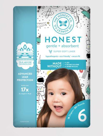 Personal Care - The Honest Co. - Diapers, Size 6, Space Travel, 22 Count