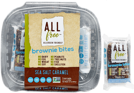 All Free - Brownie Bites, Sea Salt Caramel, 5 x 48g