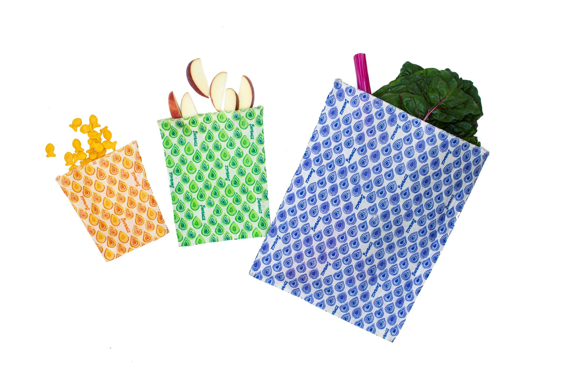 BeeBagz - Reusable Beeswax Food Bags, Starter Pack, 3 Pieces
