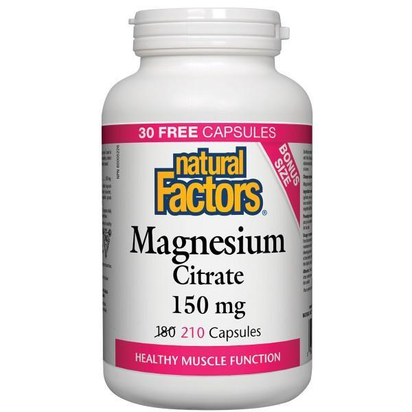 Supplements - Natural Factors - Magnesium Citrate 150mg, 210 CAPS