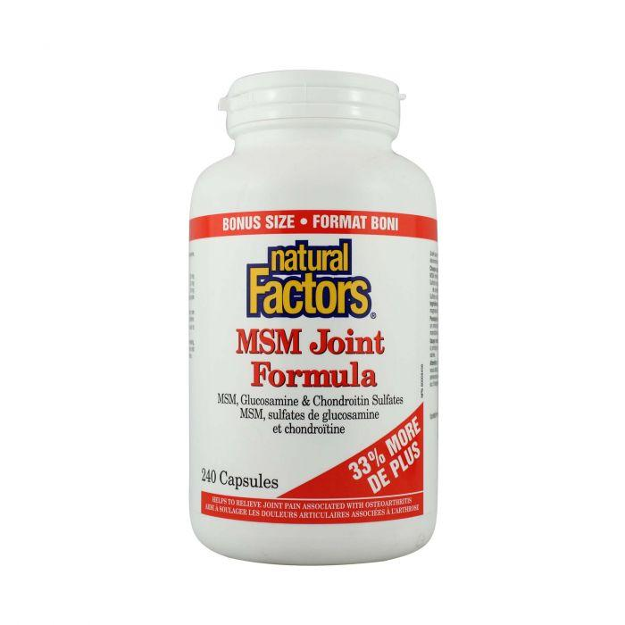 Supplements - Natural Factors - Msm Joint Formula, 240 CAPS - BONUS