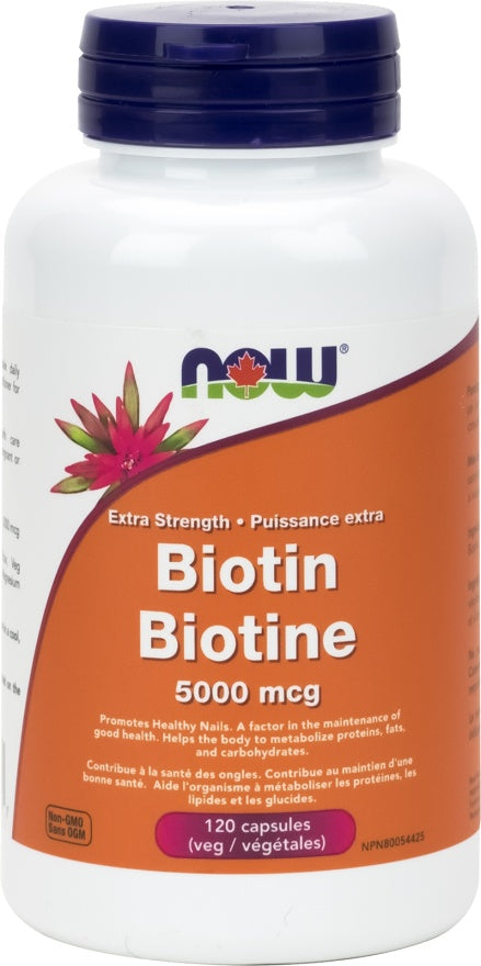 Supplements - NOW Biotin 5000mcg 120 Vcaps