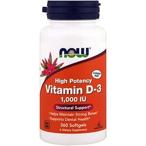 Supplements - NOW Vitamin D3 1000iu 360 Softgels