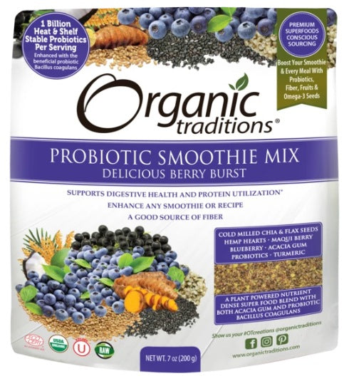 Supplements - Organic Traditions - Probiotic Smoothie Mix (Berry Burst), 200g