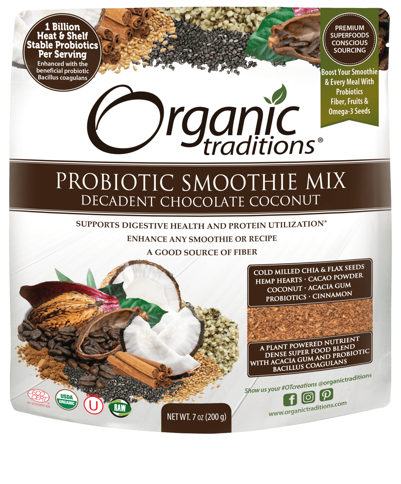 Supplements - Organic Traditions - Probiotic Smoothie Mix (Decadent Chocolate Coconut), 200g