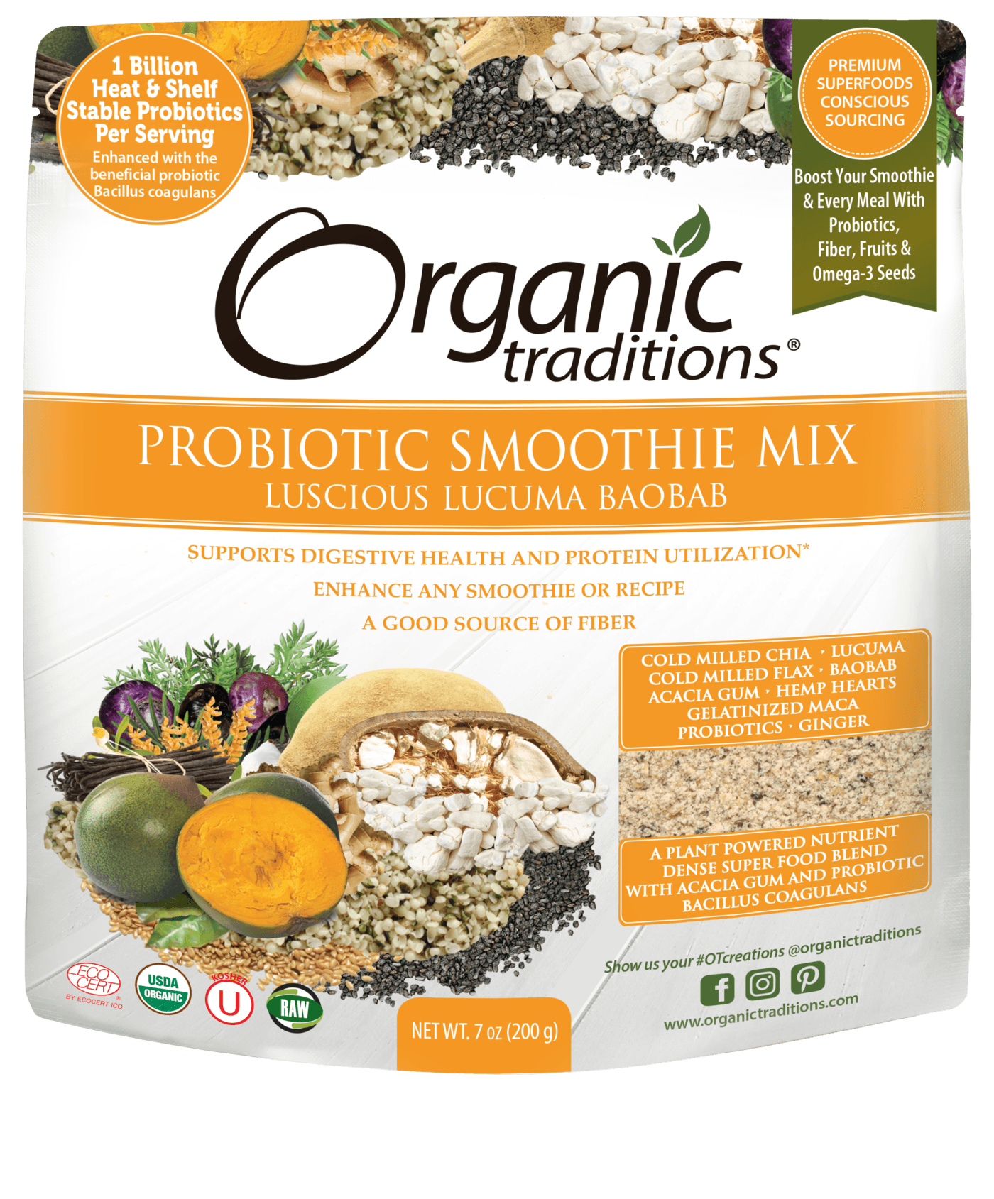 Supplements - Organic Traditions - Probiotic Smoothie Mix (Luscious Lucuma Baobab), 200g