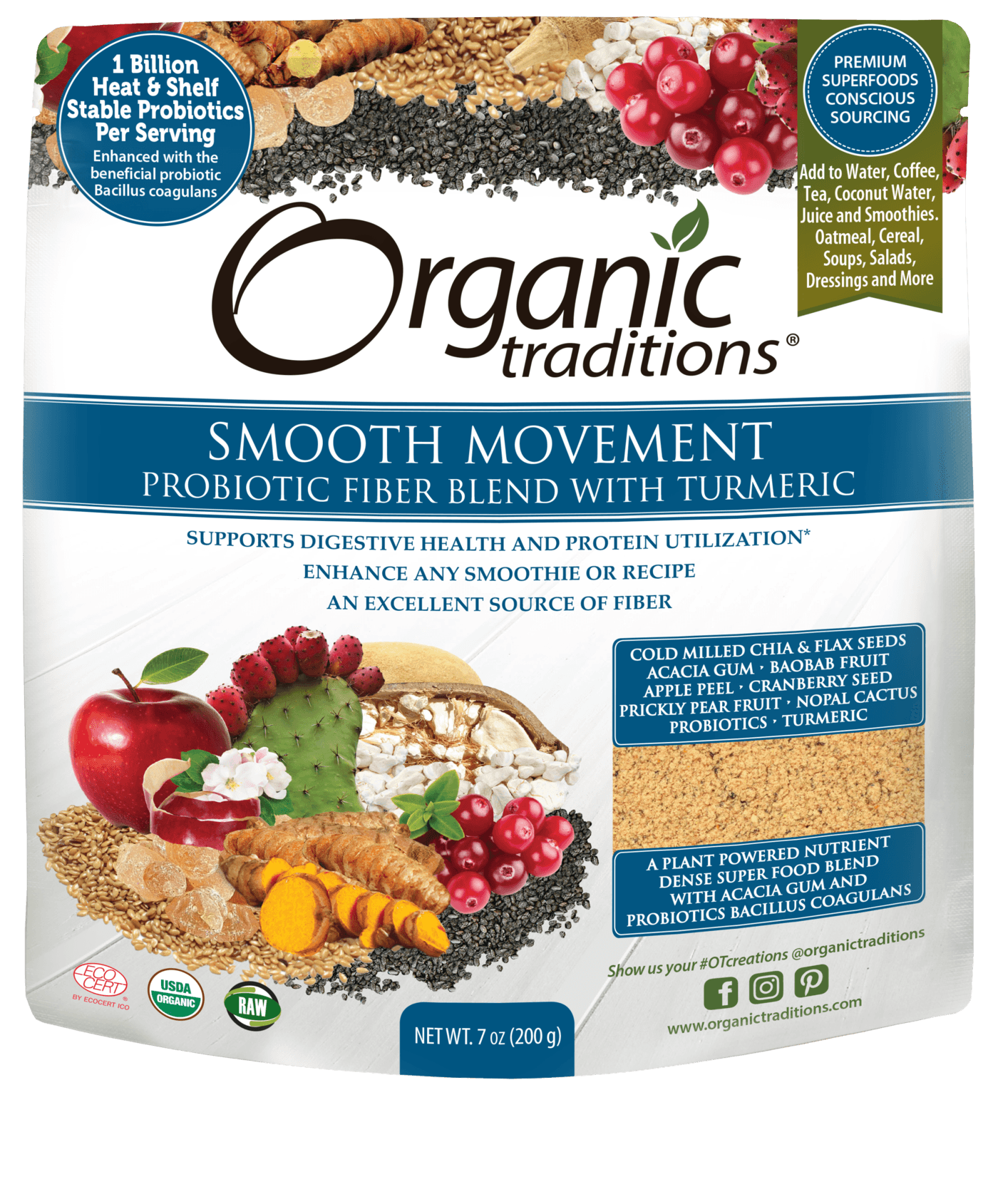 Supplements - Organic Traditions - Smooth Movement Probiotic Fibre Blend With Turmeric, 200g