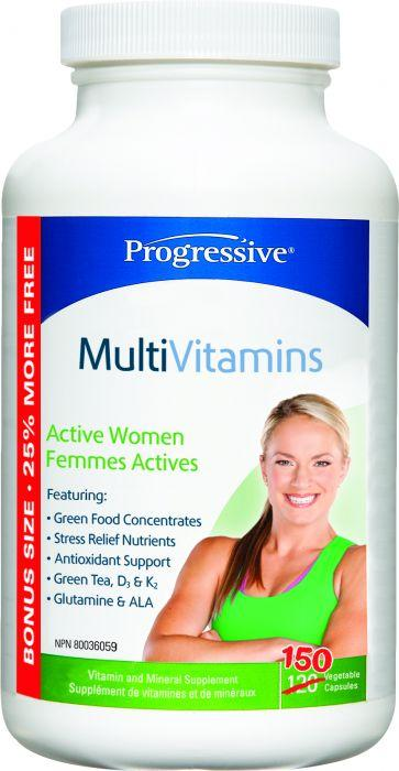 Supplements - Progressive - Multivitamin Active Women, 150 Vegetable Capsules