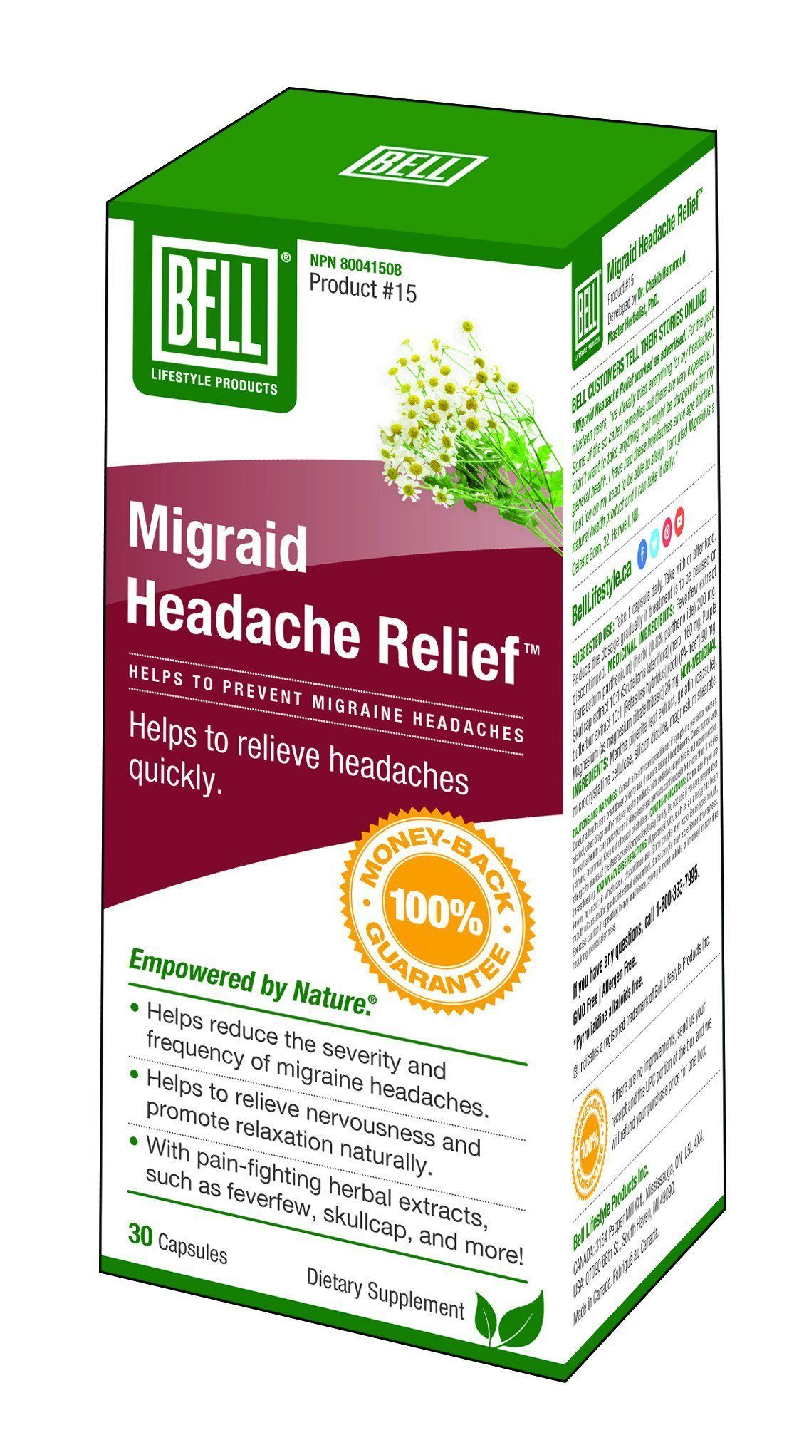 Supplements & Vitamins - Bell - Migraid Headache Relief, 30 Caps