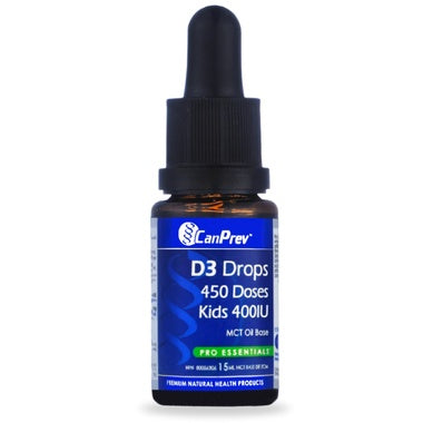 Supplements & Vitamins - CanPrev - D3 Drops Kids 400iu, 15ml