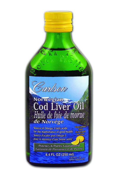 Supplements & Vitamins - Carlson - Norwegian Cod Liver Oil Lemon, 250 Ml