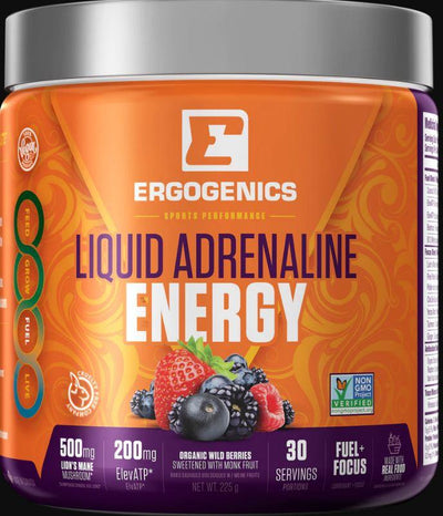 Supplements & Vitamins - Ergogenics Nutrition - Liquid Adrenaline Energy - Berry, 225g