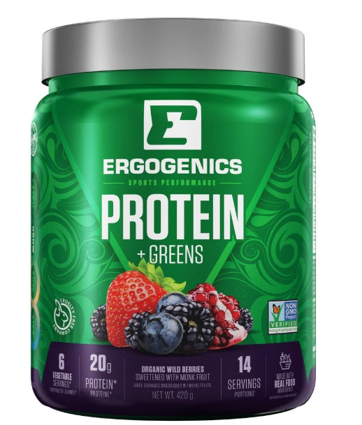 Supplements & Vitamins - Ergogenics Plant Protein +Greens Berry, 420g