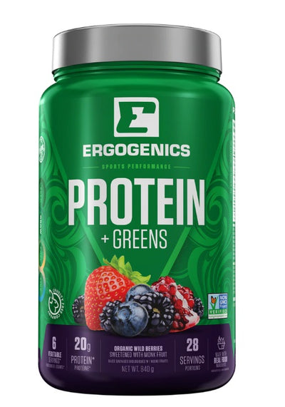 Supplements & Vitamins - Ergogenics Plant Protein +Greens,  Berry 840g