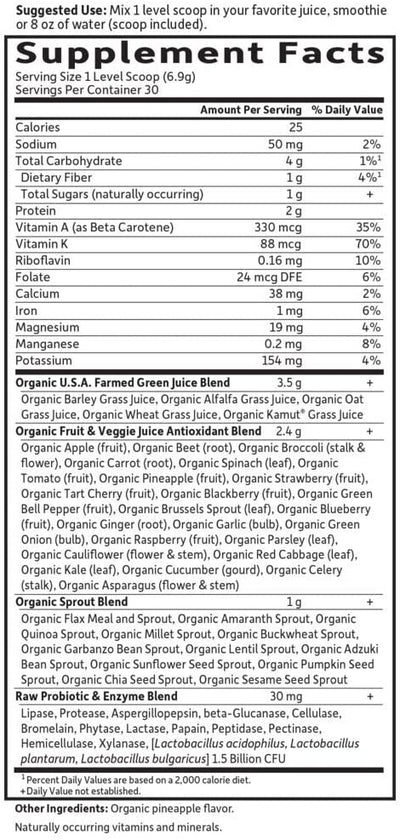 Supplements & Vitamins - Garden Of Life - Raw Organic Perfect Food, Green Original, 207g