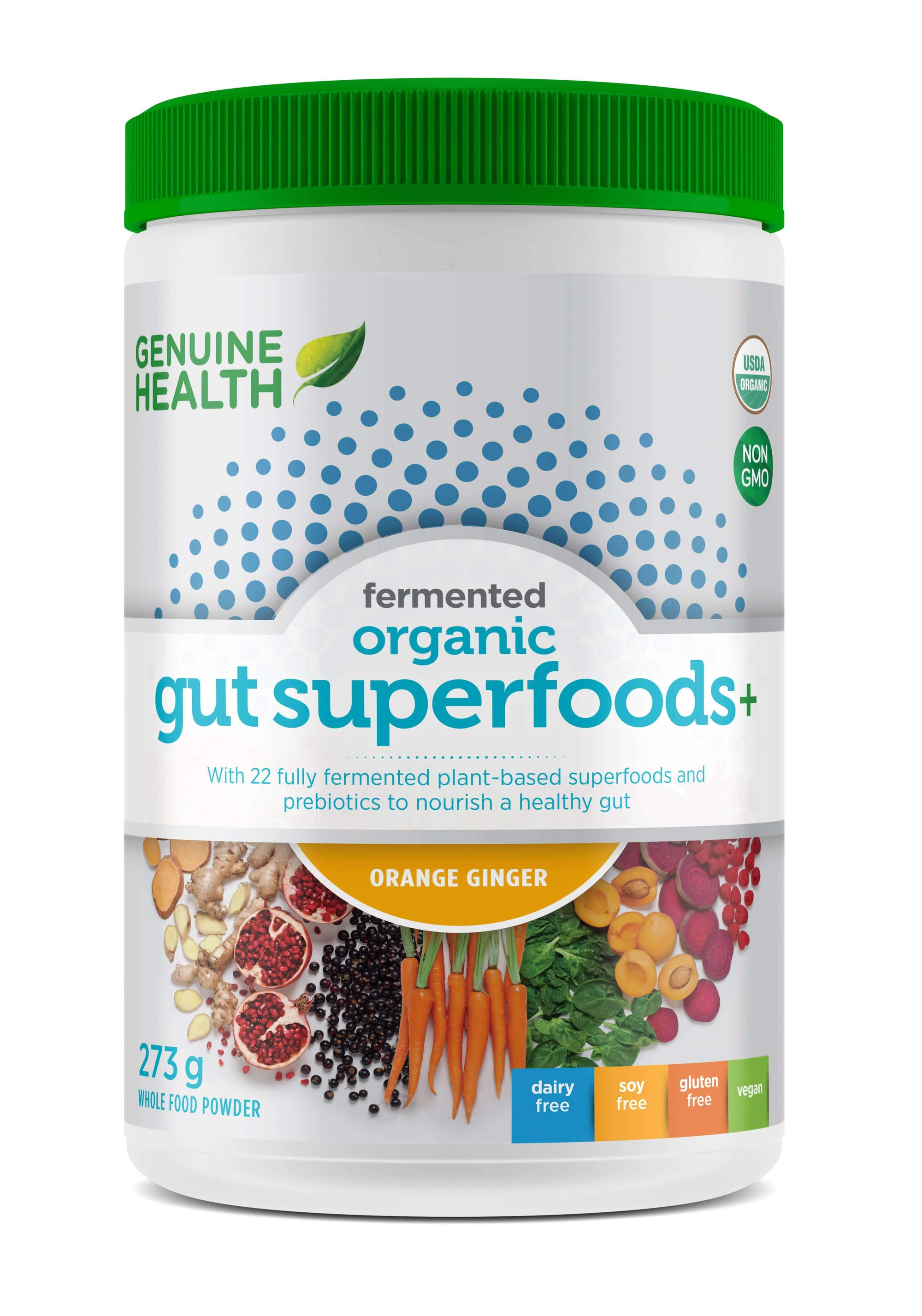 Supplements & Vitamins - Genuine Health - Fermented Gut Superfoods+, Orange Ginger, 273g