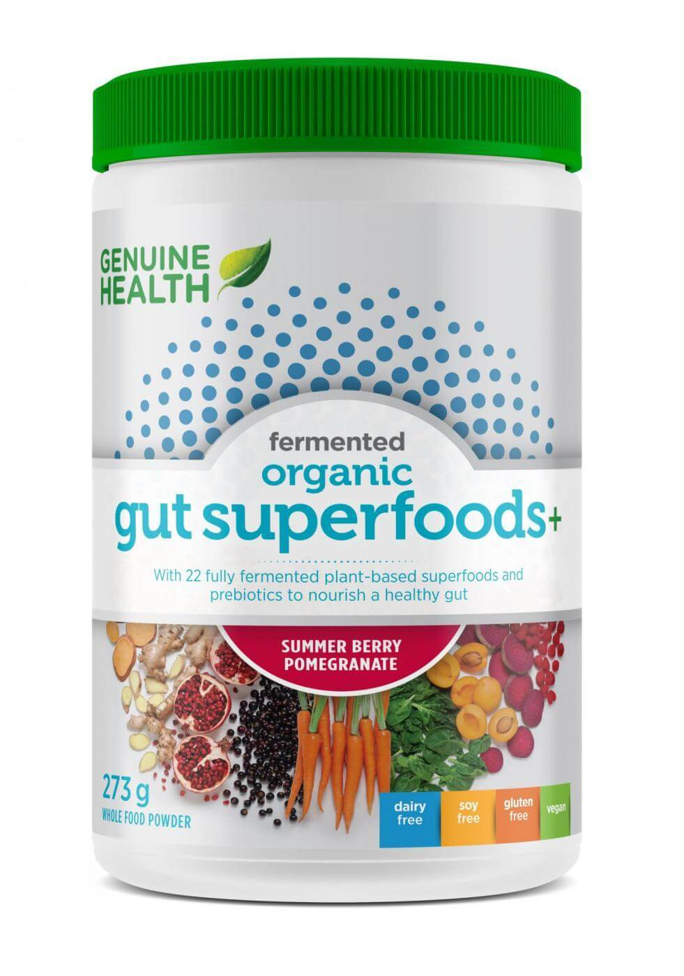 Supplements & Vitamins - Genuine Health - Fermented Gut Superfoods+, Summer Berry Pomegranate, 273g