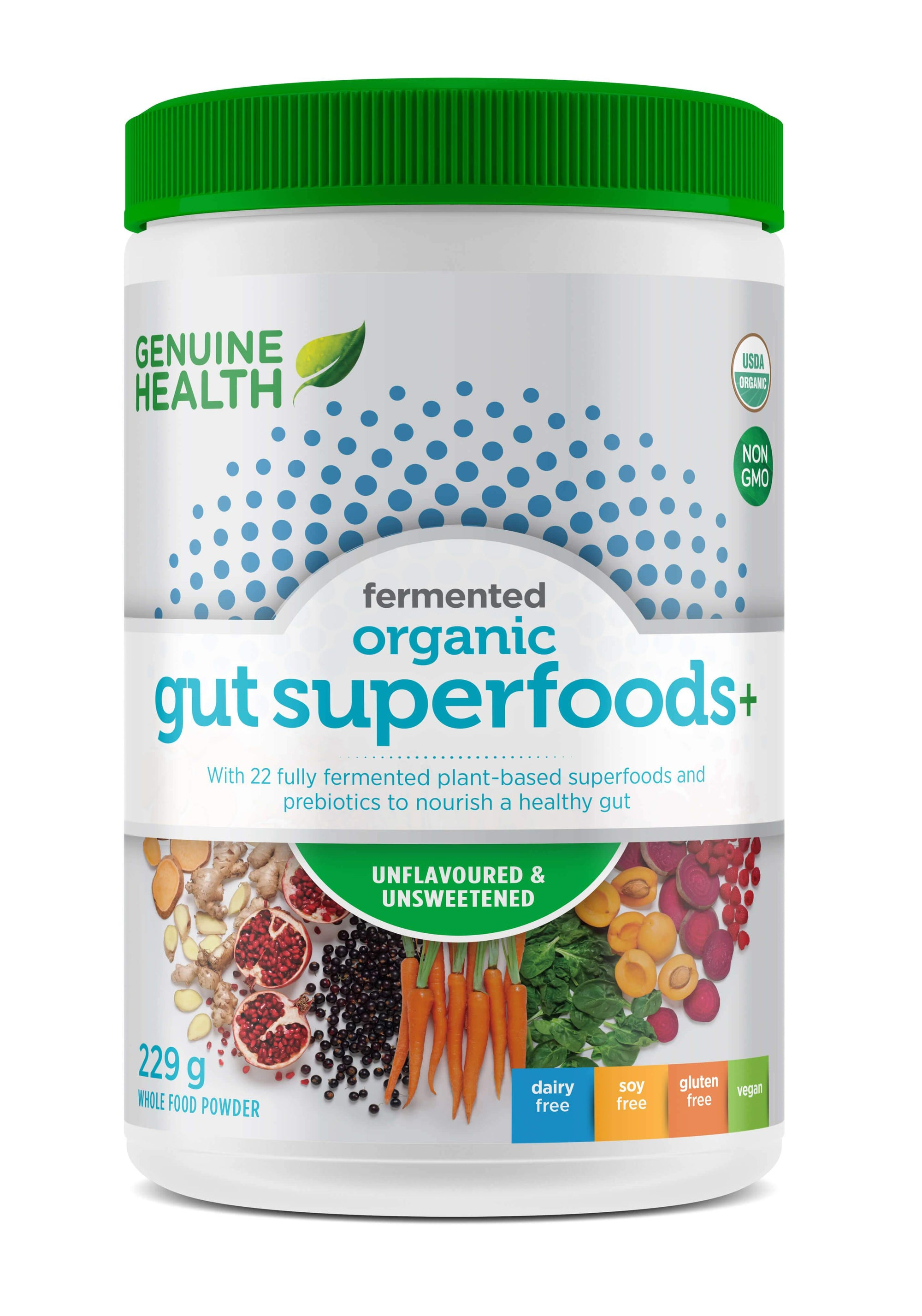 Supplements & Vitamins - Genuine Health - Fermented Gut Superfoods+, Unflavoured, 229g
