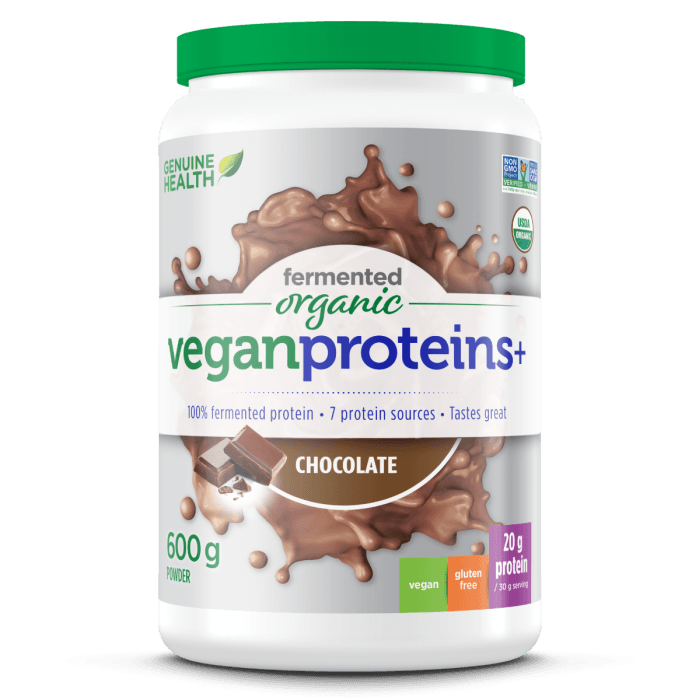 Supplements & Vitamins - Genuine Health - Fermented Organic Vegan Proteins+ Chocolate, 600g