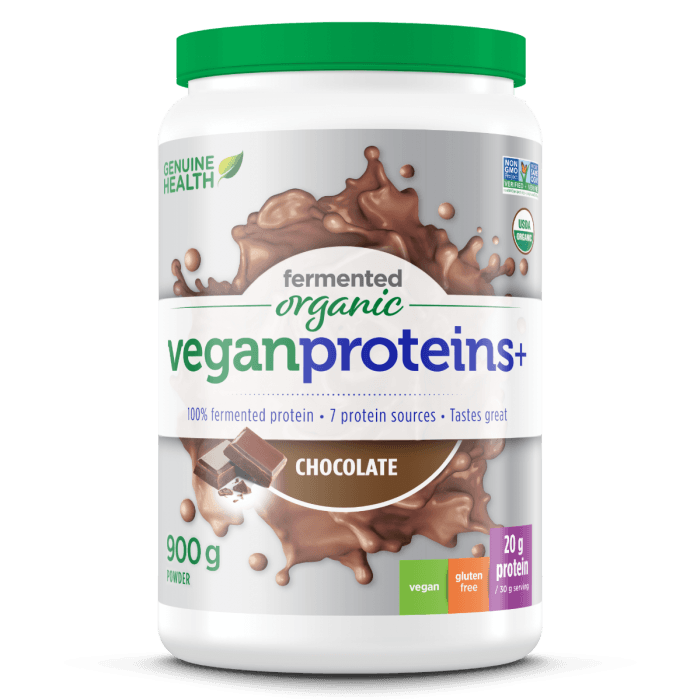 Supplements & Vitamins - Genuine Health - Fermented Organic Vegan Proteins+ Chocolate, 900g