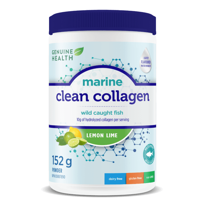 Supplements & Vitamins - Genuine Health - Marine Clean Collagen - Lemon Lime, 152g